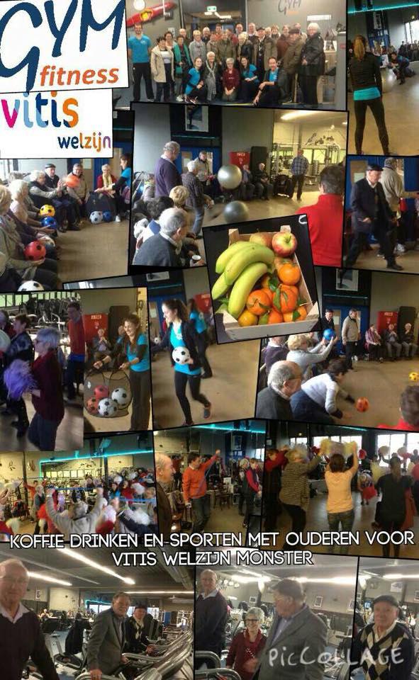 8 Jan: Koffie drinken en sporten met ouderen voor Vitis Welzijn Monster. Ada v Staalduinen en vrijwilligers hadden de oliebollen meegenomen en Gymfitness Koffie,fruit & nootjes!