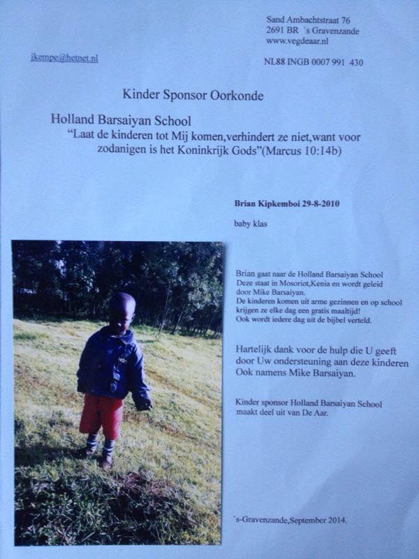 Sponsor oorkonde Holland Barsaiyan School Kenia
