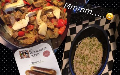 – Recept: Makkelijke spaghetti met artisjokken en vegetarische bratwurst