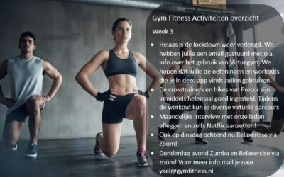 – Gym Fitness overzicht week 4
