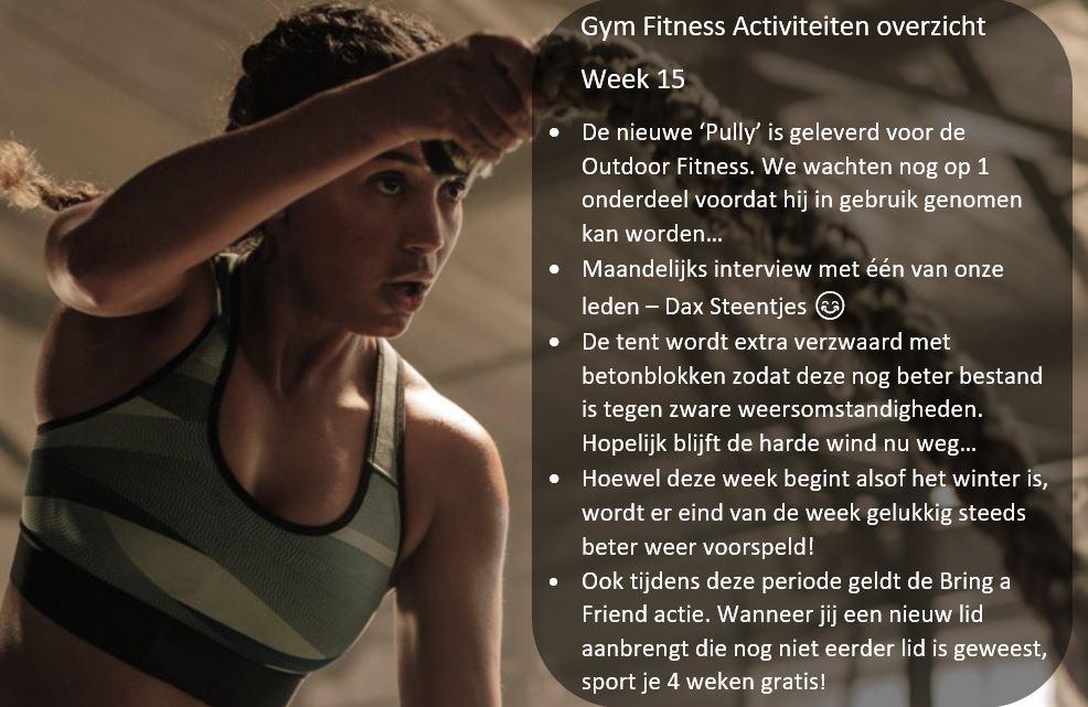– Gym Fitness overzicht week 15